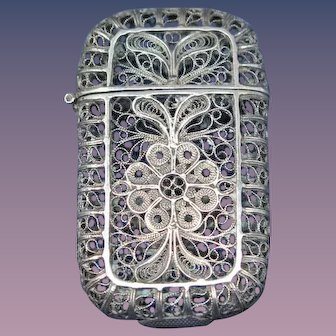 Filigree match safe with delicate floral design, 900/925 silver, c. 1895