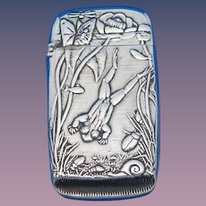Frog motif match safe, silver soldered by R. Wallace & Sons, #060, c. 1895