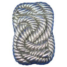 Rope design match safe, silver soldered by R. Wallace & Sons, #098, c. 1900