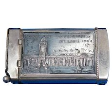 1904 St. Louis World's Fair, Palace of Mines & Metallurgy & Palace of Manufacturers match safe w/ cigar cutter, by August Goertz & Co.