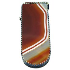 Banded agate match safe with nickel plated brass filigree fitments, c. 1890