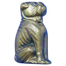 Figural mastiff dog match safe, brass w/glass eyes, c. 1890 (Not Repro)