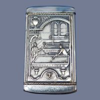 Billiards and bowling motif match safe, insert type by August Goertz & Co., c. 1905, pool