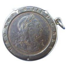 1797 Cartwheel, 2 pence coin match safe, c. 1900