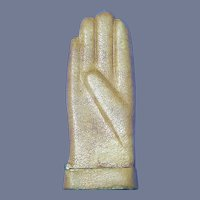 Figural leather wrapped glove match safe, c. 1895