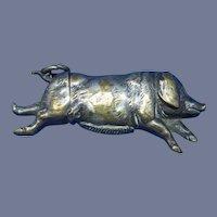 Figural running pig match safe, nickel plated brass, c. 1890, unusual