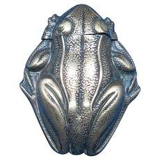 Figural frog match safe, c. 1899