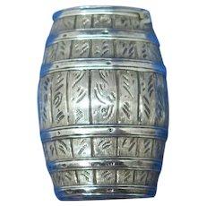 Figural barrel or cask match safe, sterling, James Freeman, 1885 Chester hallmarks, rare