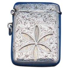 Ajoure' work 6 petal flower match safe, William Henry Levy, 1901 Birmingham sterling hallmarks
