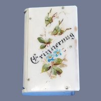 Floral book-shaped match safe marked Erinnerung (Remembrance), c. 1890