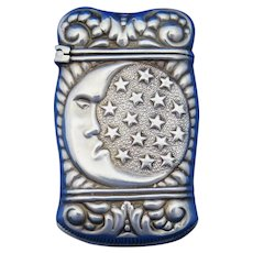 Celestial motif, man in the moon & stars, match safe, silver plated, c. 1895