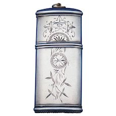 Engraved design sterling and gold match safe by Whiting Mfg. C. 1890