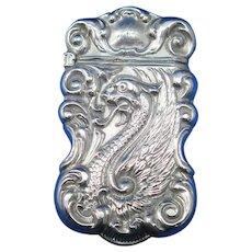 Cockatrice/serpent motif match safe, sterling, c. 1900