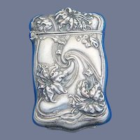 Floral motif match safe, silveroin, Bristol Mfg. Co., c. 1900