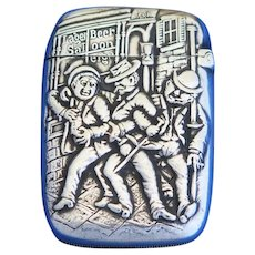 Three jolly revelers match safe by Gorham Mfg. Co., silver plated, c. 1890