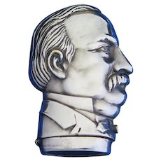 President Grover Cleveland figural match safe, plated brass by Simon Zinn, Patented Oct. 9, 1888