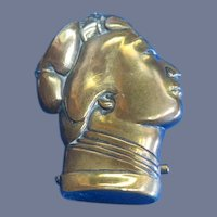Figural Japanese geisha girl head match safe, brass, c. 1895