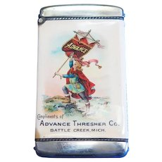 Advance Thresher Co. match safe, celluloid wrap by Whitehead & Hoag, c. 1905