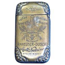 Anheuser Busch Malt Nutrine advertising match safe, c. 1895