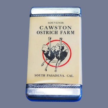 Cawston Ostrich Farm match safe, celluloid wrapped, by American Art Works, c. 1904