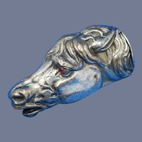 Figural horse head match safe, glass eyes, bold details, plated brass, c. 1890