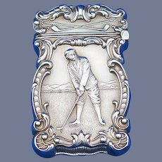 Golfer motif match safe, sterling, gilded interior, c. 1900