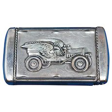 Winged auto /  Gallaway's Velocity Auto Oil match safe by August Goertz, c. 1905, Uncommon Item