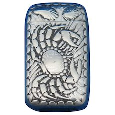 Crab, scallop & mussel motif match safe, silver plated by Meriden Britannia Co., c. 1895