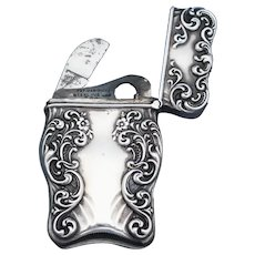 Floral design match safe with cigar cutter, sterling by Wm. Hayden, c. 1893, Uncommon