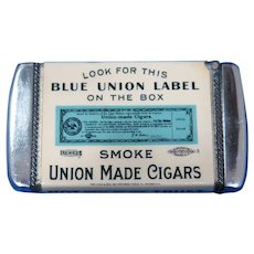 Blue Union Label Made Cigars match safe, celluloid wrapped by White Head & Hoag, c. 1905