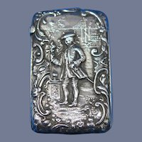Colonial dressed man / lady in garden match safe, sterling by Codding Bros. & Heilbron, c. 1900, unusual