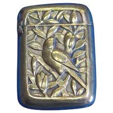 Japanese match safe, bird and foliate motif, brass, c. 1895