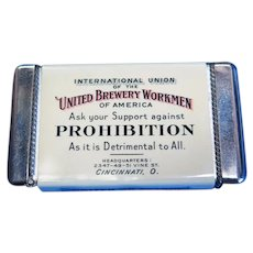 International Union of the United Brewery Workmen of America celluloid match safe, c. 1917