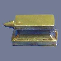 Figural anvil match safe, brass, c. 1890, unusual