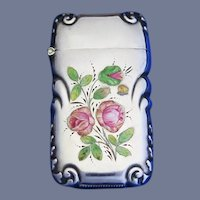 Rose plant w/ pink roses match safe, enamel on sterling silver, c. 1900