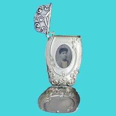 Hidden photo match safe, floral motif, sterling by Battin & Co. c. 1896