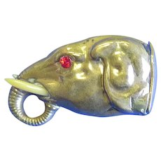 Figural elephant head match safe with real tusks and glass eyes, c. 1890