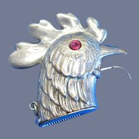 Figural rooster head w/red glass eyes match safe, c. 1895