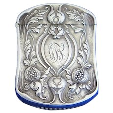 Thistle-like design match safe, sterling by Gorham Mfg. Co., c. 1898