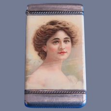 Pin Up Girl match safe, Angelo Asti image, celluloid wrap by Whitehead & Hoag, c. 1909