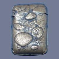 Japanese match safe, underwater seashell motif, c. 1895