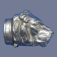 Figural lion head match safe, white metal, c. 1895