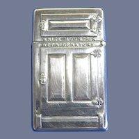 White Mountain Refrigerators / Maine Mfg. Co. match safe + orig box, unused condition, c. 1910