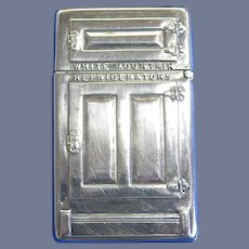 White Mountain Refrigerators / Maine Mfg. Co. match safe + orig box, unused condition, c. 1910
