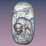 1901 Pan American Exposition match safe, Buffalo, NY, Niagara Falls, Japanese, brass.