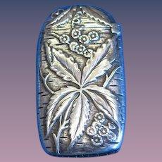 Marijuana leaf motif match safe, silver plated, c. 1895
