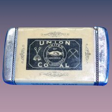 United Mine Workers, Union Coal match safe, celluloid wrapped by Whitehead & Hoag, c. 1900