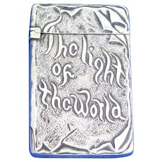 Light of the World book shaped match safe, silver plated, c. 1900, religious theme