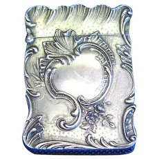 French foliate motif match safe, H.M. maker's mark, sterling with gold gilted interior, c. 1900