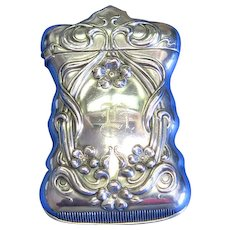 Floral motif match safe, silver plated, c. 1900